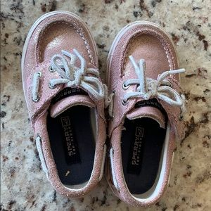 Pink sparkly Sperrys size 6 baby
